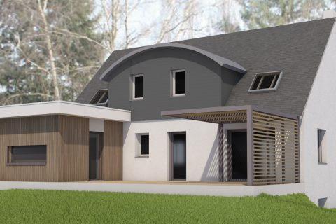 Extension et restructuration d'une habitation - image de synthèse
