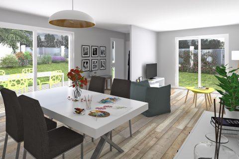 maison plain-pied ossature bois : séjour