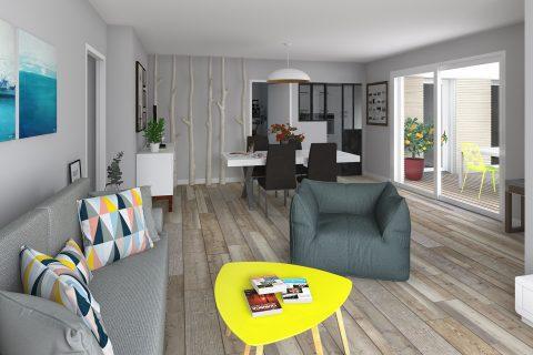 maison plain-pied ossature bois : salon